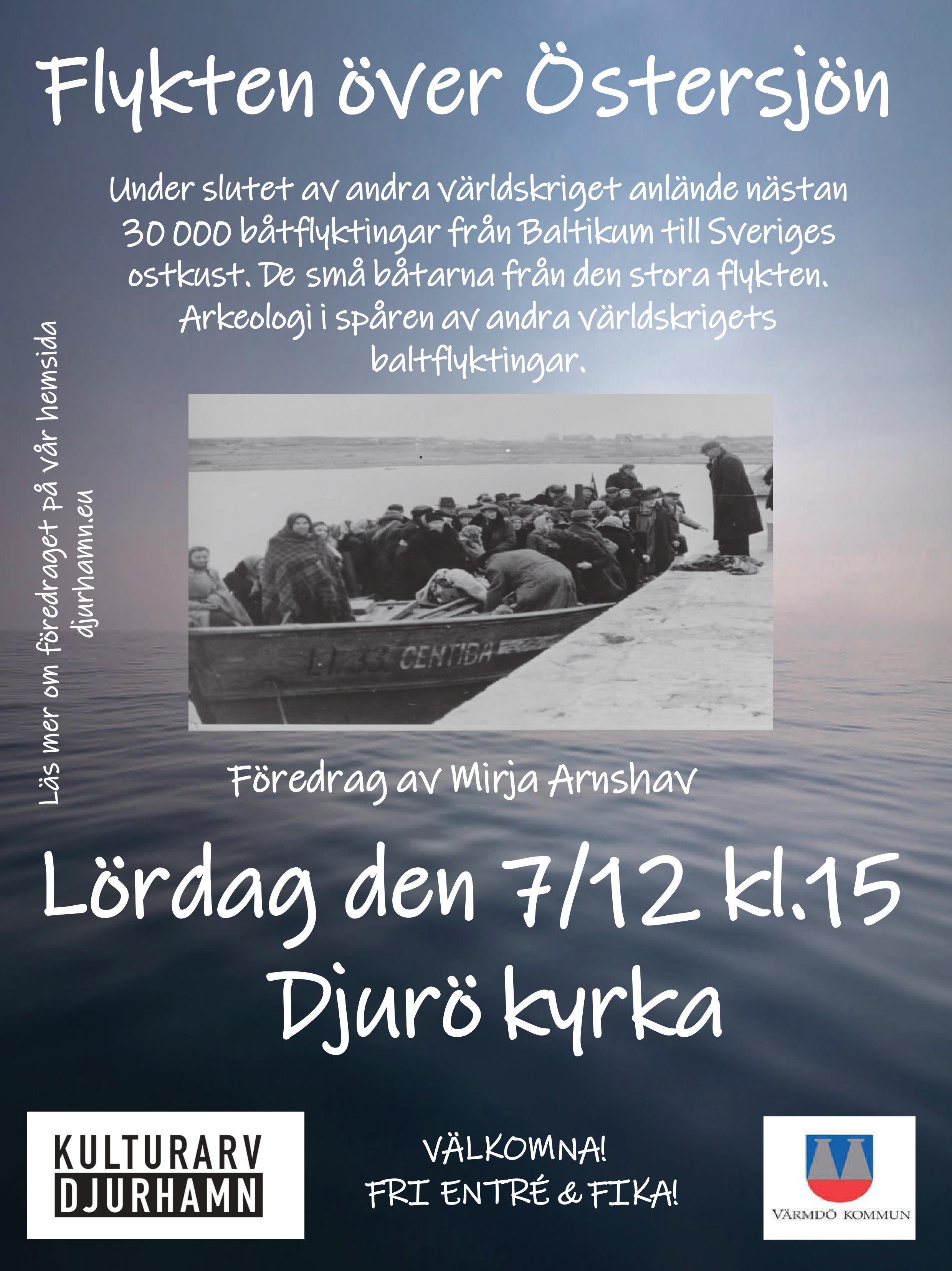 """Välkomna på föredraget """"Flykten över Östersjön"""". Fri entré och fika."""