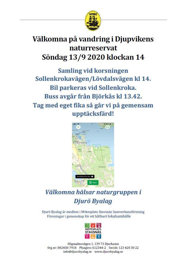 Söndag 13 sep kl 14 Vandring i Djupvikens naturreservat på Vindö.